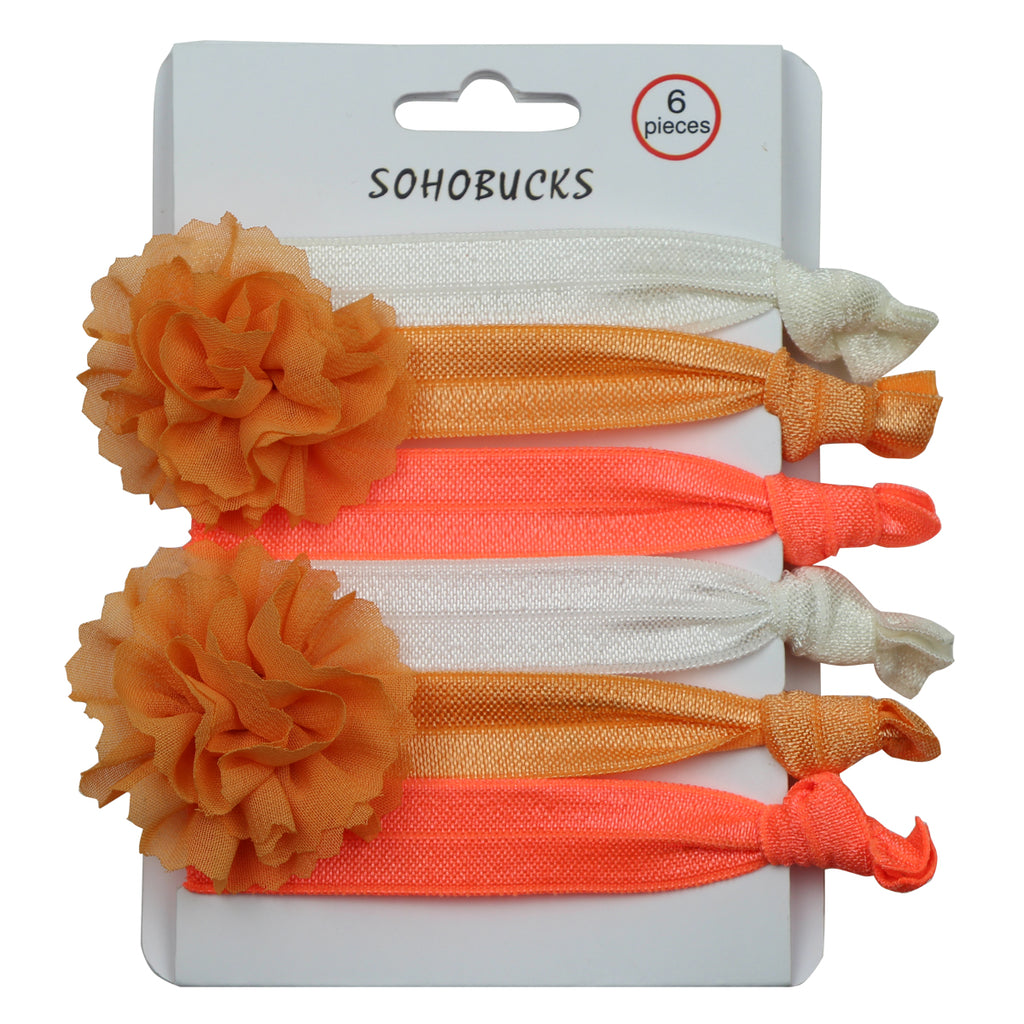 orange pink frayed  chiffon flower hair tie holder bracelet 1096
