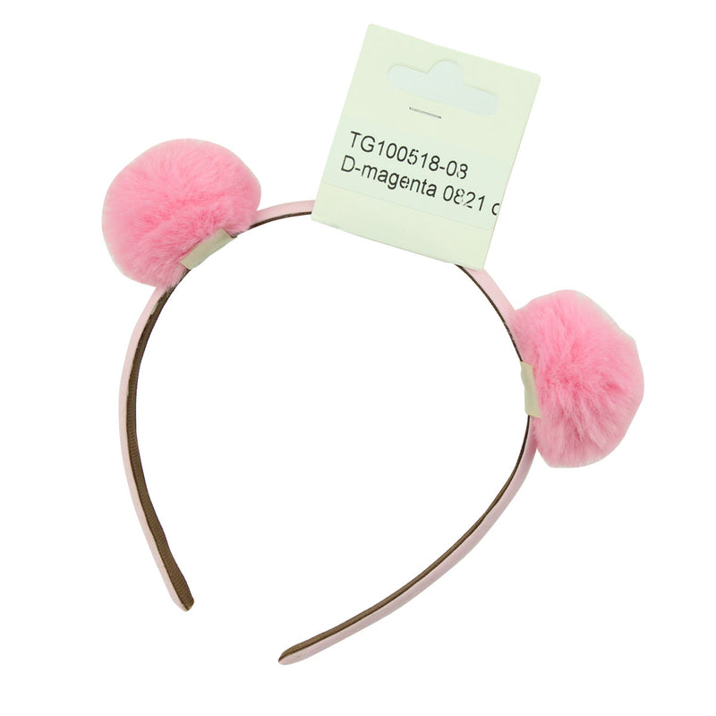 pink artificial faux animal fake rabbit fur pom poms hairband women fabric ribbon covered plush ball headband  6532