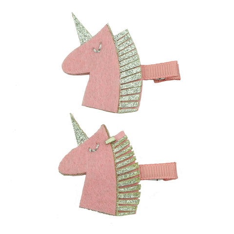 pink felt unicorn horn ribbon hair clip felt hair clip for girl 7624
