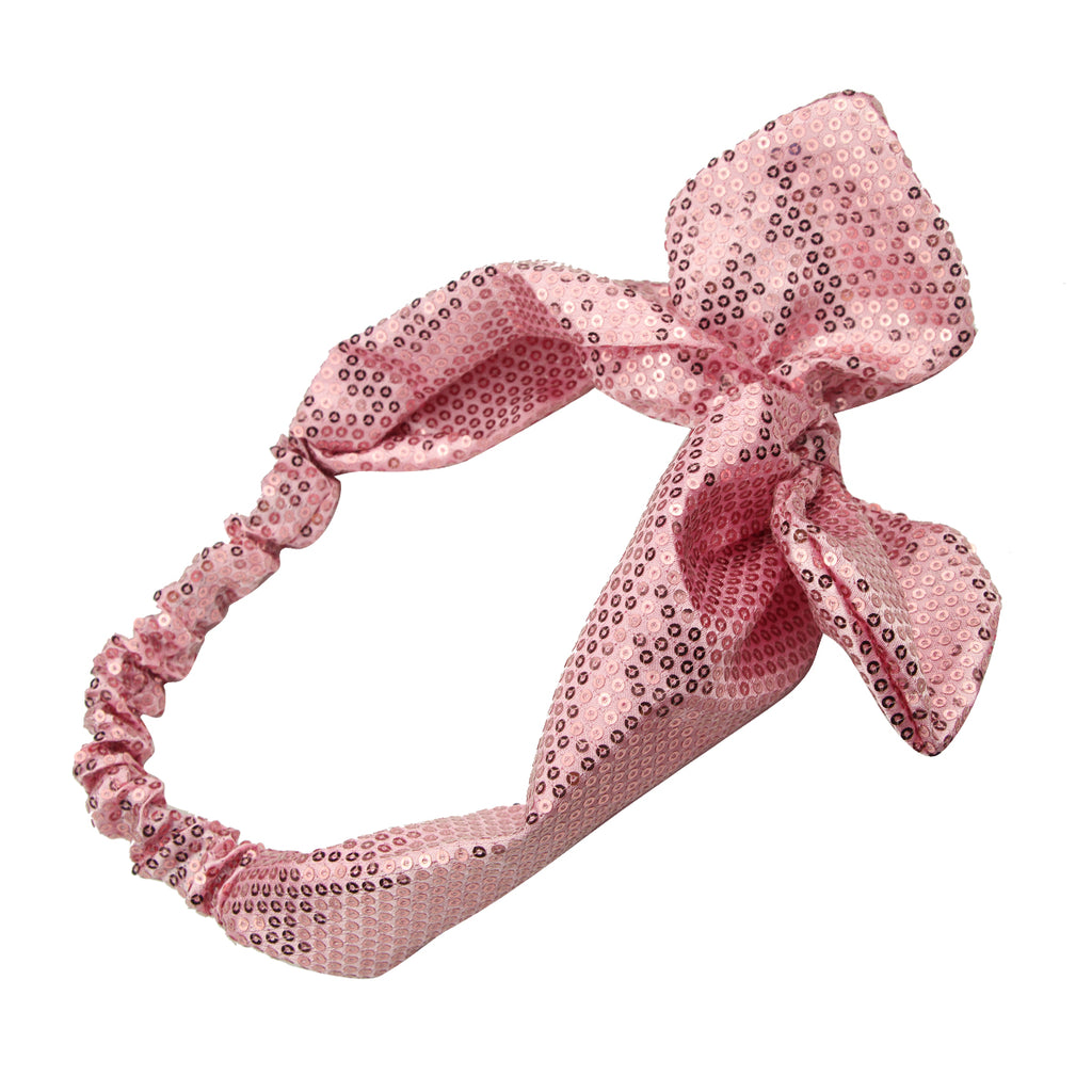 pink mermaid sequin bunny ears bow headband,gold sequin headband,sequin headband for girl7789