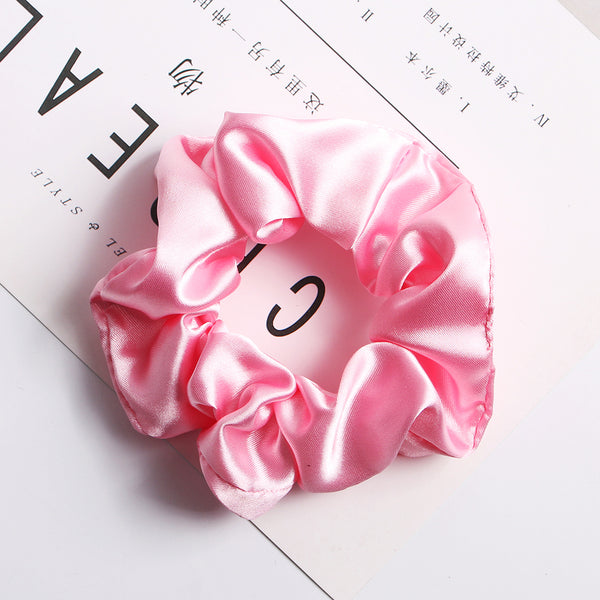 pink satin hair scrunchies