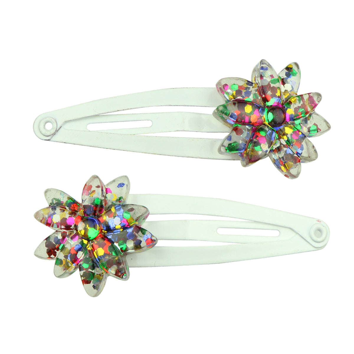 poly resin glitter daisy flower hair clip white tapper snap girl hair grip wholesale 7736 - SOHOBUCKS CO.,LIMITED