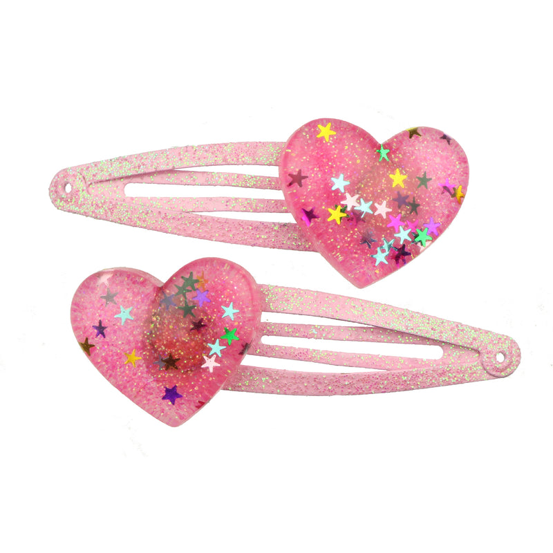 poly resin glitter love heart hair clip acetate hair clip 7706