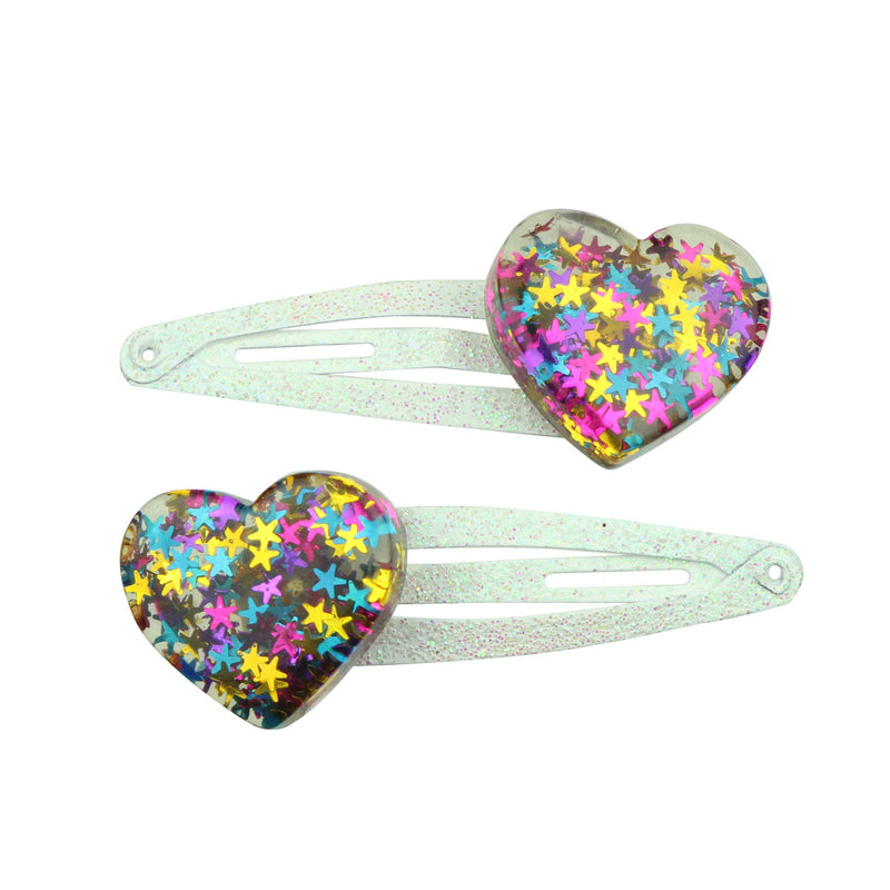 poly resin love heart hair clip glitter hair clipper grip 7685