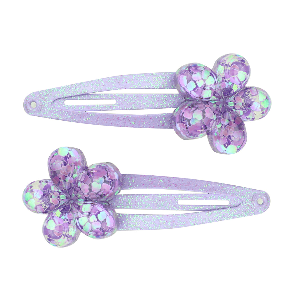 poly resin purple glitter flower hair clip girls hair accessory set7730