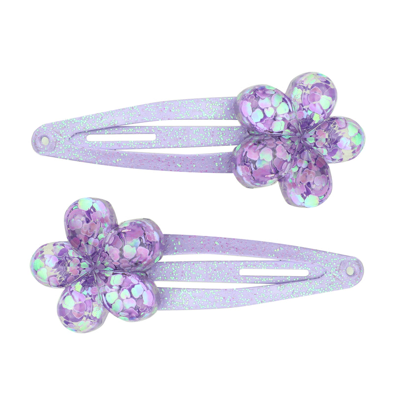 poly resin purple glitter flower hair clip girls hair accessory set7730 - SOHOBUCKS CO.,LIMITED