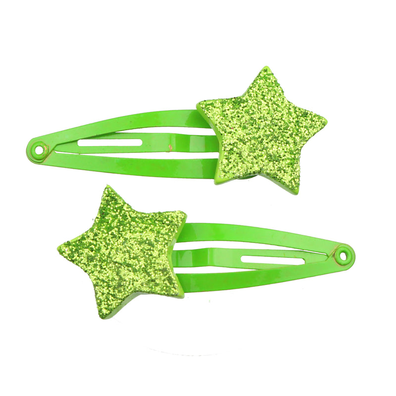 poly resin star green tappered metal snap clip girl glitter hair clip 7742