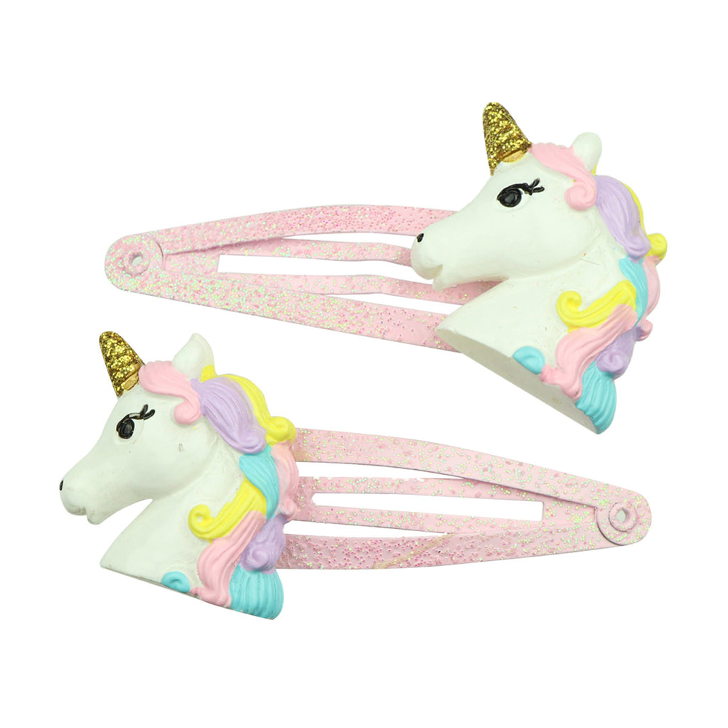 poly resin unicorn horn animal glitter snap girl hair clip 4cm kid hair grip wholesale 7679