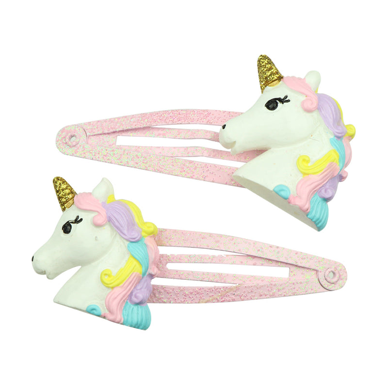 poly resin unicorn horn animal glitter snap girl hair clip 4cm kid hair grip wholesale 7679 - SOHOBUCKS CO.,LIMITED