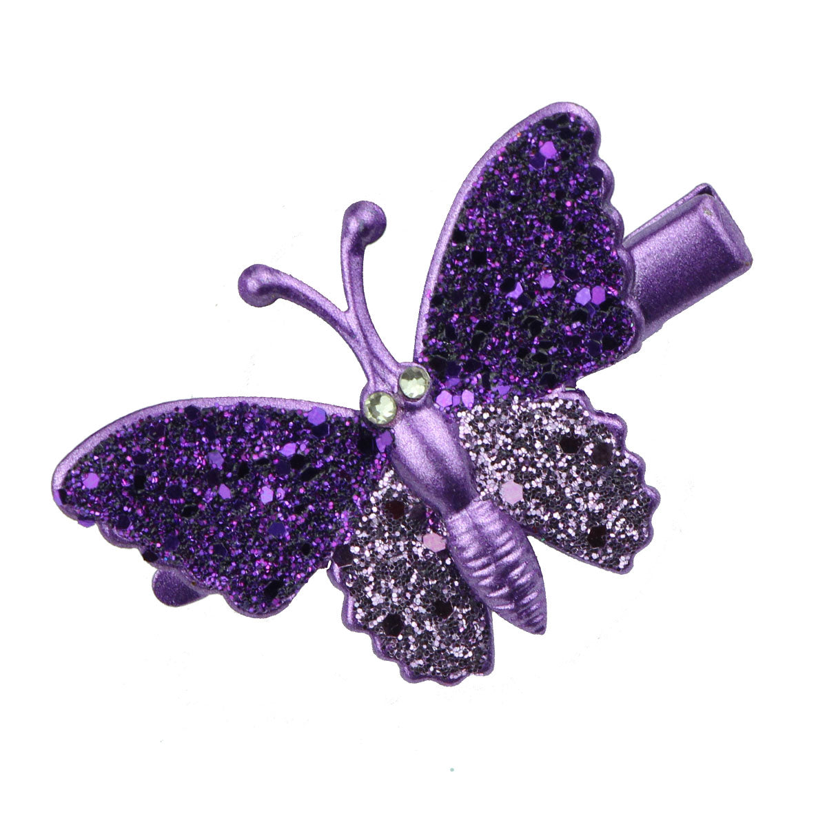 purple gold rhinestone glitter butterfly alligator hair clip barrettes hair grips girl hair accessories at factory price 6494 - SOHOBUCKS CO.,LIMITED