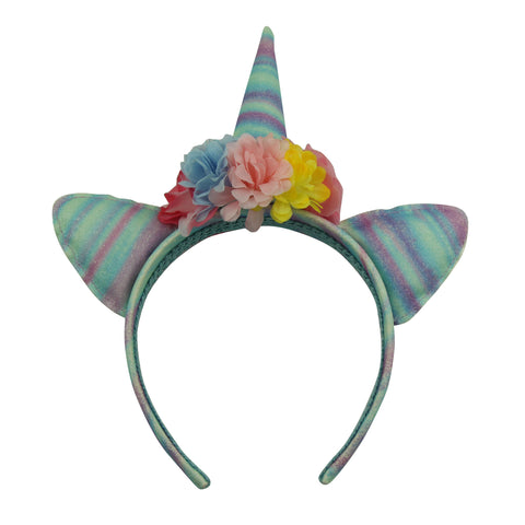rainbow fabric leather covered elf   anime sexy cat ears polyester artificial silk rose flower adult headbands with unicorn horn  5906