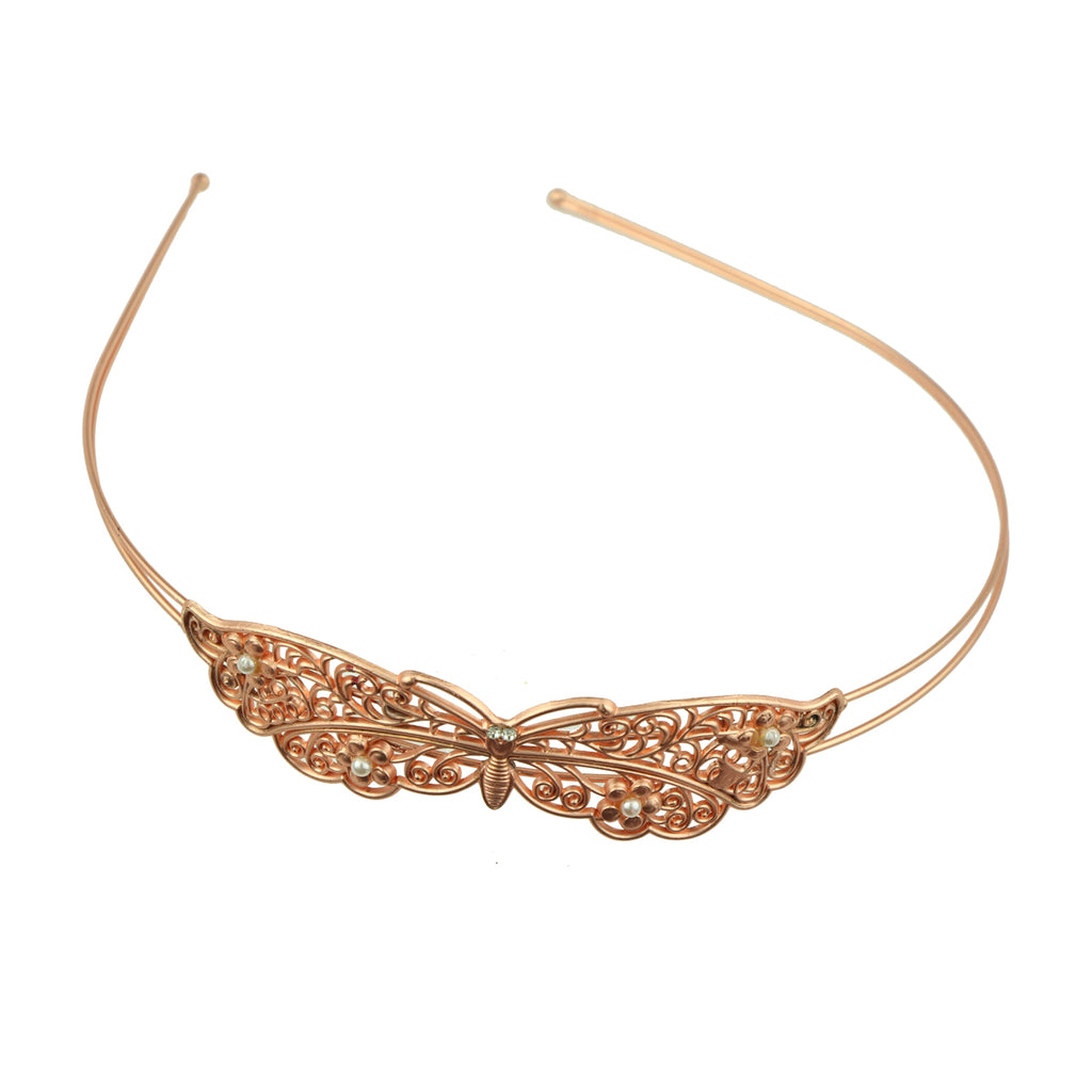rose gold metal vintage hair accessory metallic butterfly with pears fashion fancy quality hairband headband made in Dongguan 6879