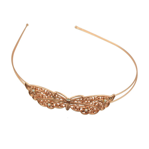 rose gold metal vintage hair accessory metallic butterfly with pears fashion fancy quality hairband headband made in Dongguan 6879 - SOHOBUCKS CO.,LIMITED