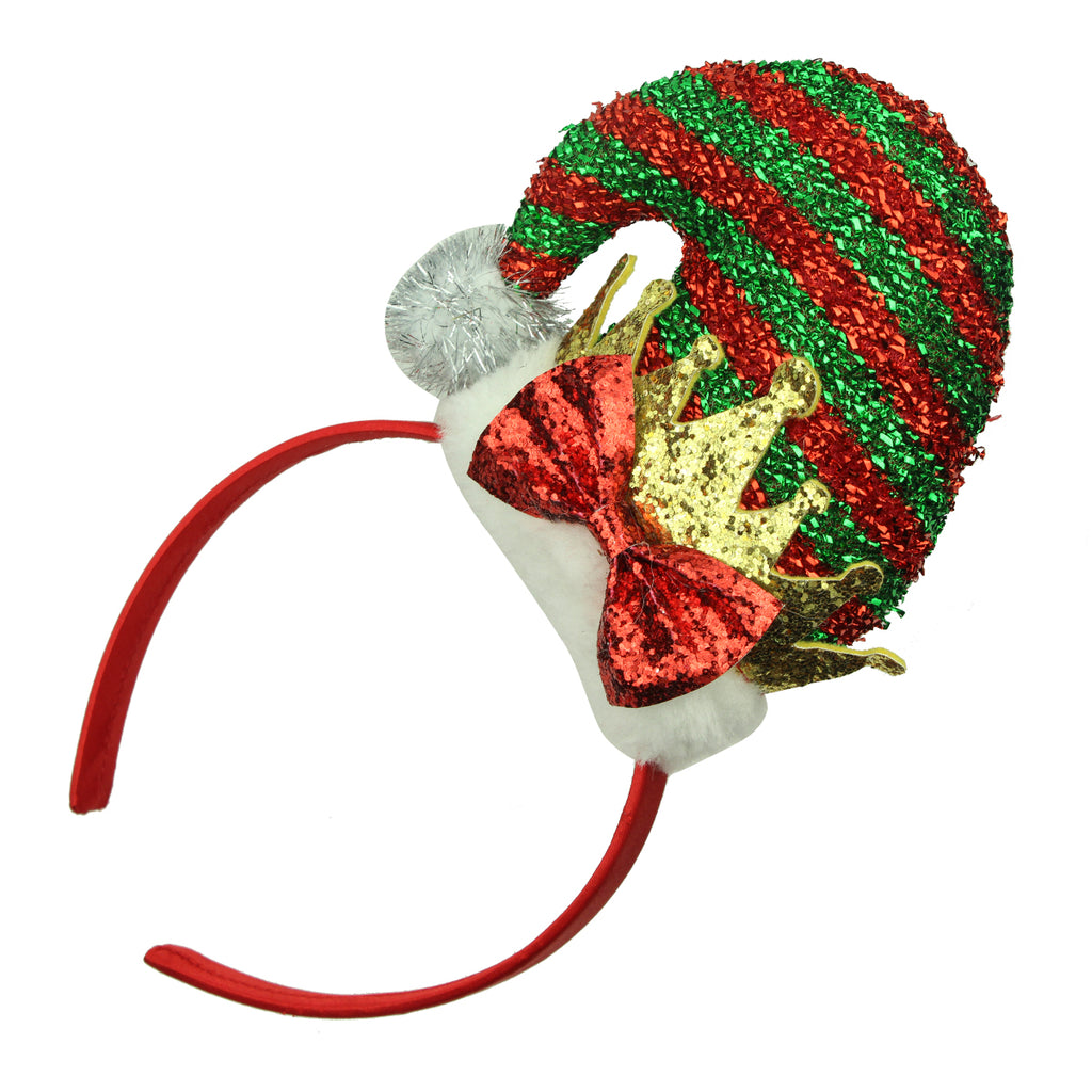 santa claus hat hair band,chimney santa hat,xmas crown festival headband with glitter bow 8143