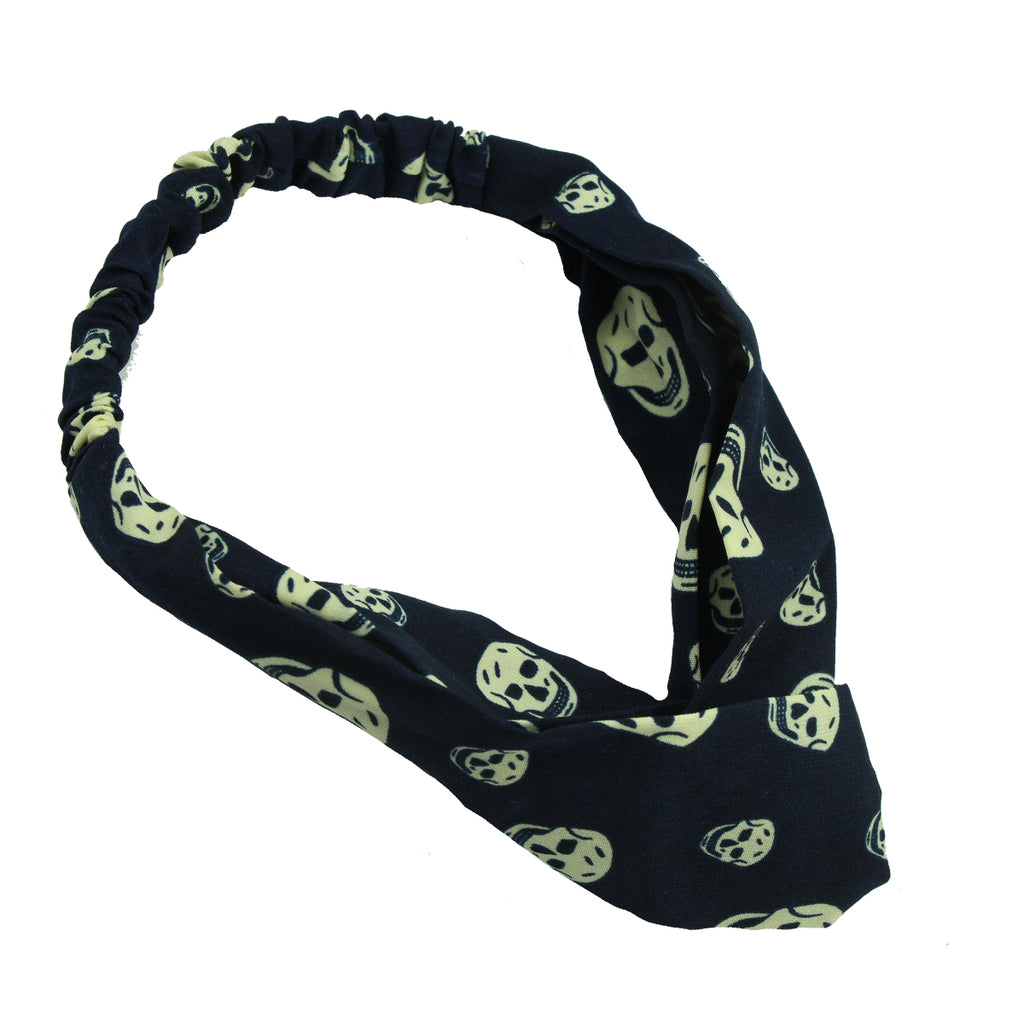satin head wrap custom print skull hair headband,black cross twist christmas headband7782