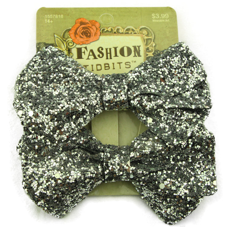 silver giltter leather bow hair clip women leather hair accessories bow hair barrette