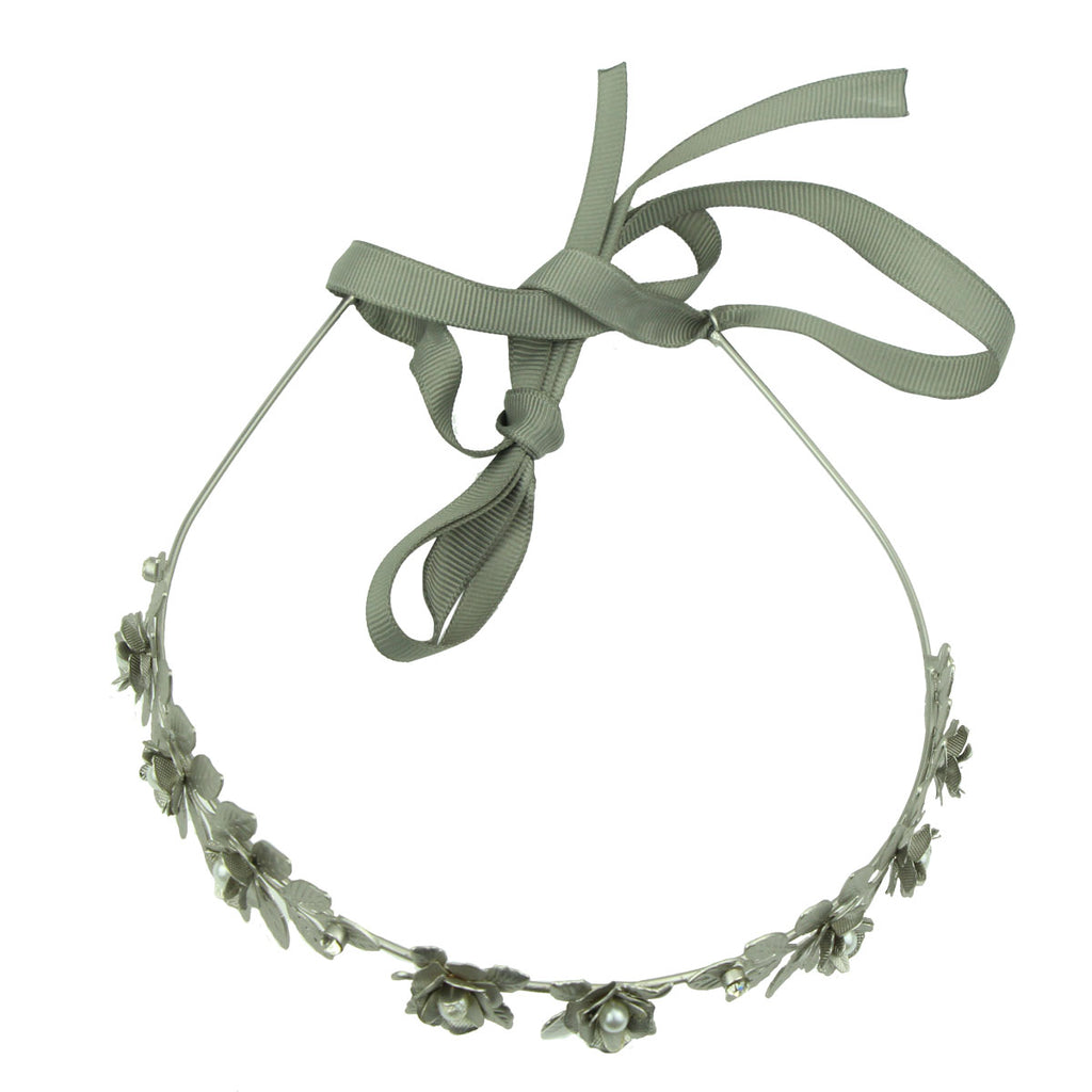 silver metal pear centerpiece flower hairband headband with ribbon 6511