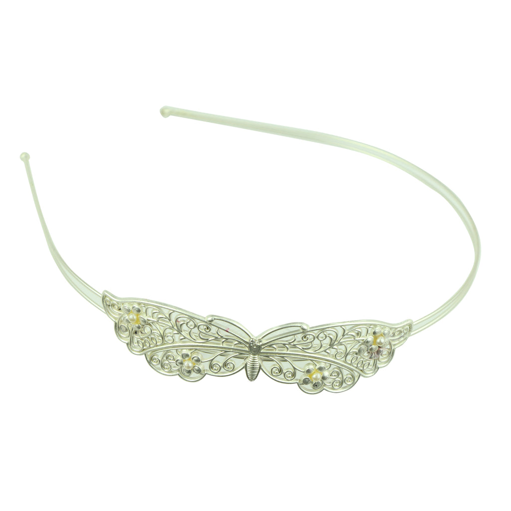 silver metal vintage hair accessory metallic butterfly with pears fashion fancy quality hairband headband made in Dongguan6880