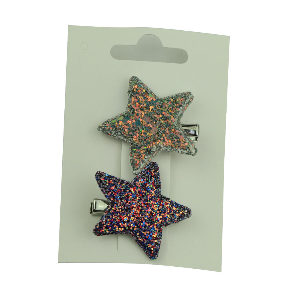 star hair accessories diy boutique suede glitter leather star hair clips set  toddler girl hair barrette5749 - SOHOBUCKS CO.,LIMITED