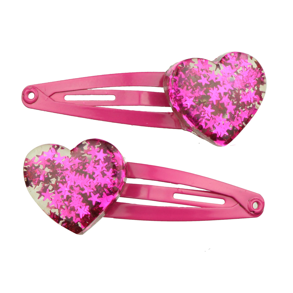 transparent poly resin hot pink glitter inside heat shape girl hair clip tapper hair grip kid hair accessory set wholesale7724