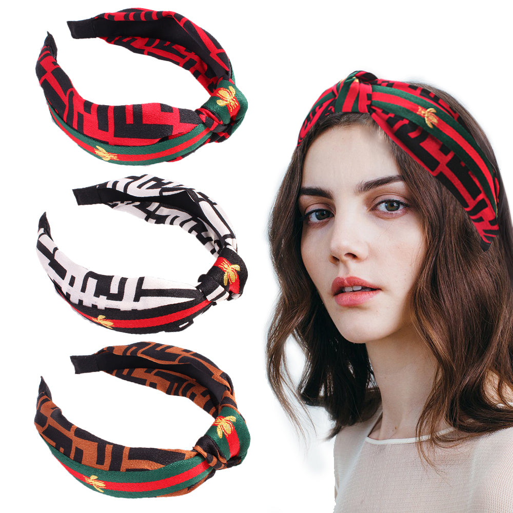 embroidered bee fabric covered twist hair headband,teen girls hairband for hair decoration 90713