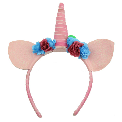 unicorn horn Birthday Party Supplies velvet ribbon wired cat ears flower hairband head band 5923 - SOHOBUCKS CO.,LIMITED