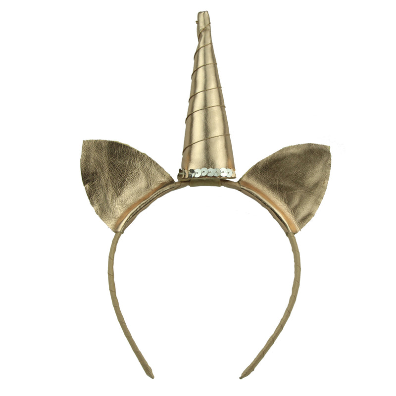 unicorn horn headband gold suede leather cat ears hairband,grosgrain ribbon wrapped headband 5930