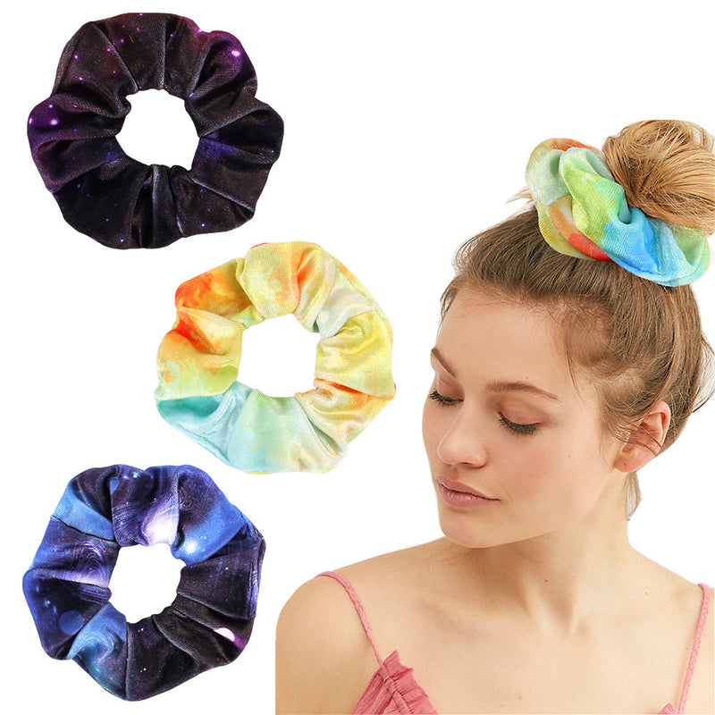 Women Velvet Scrunchies Tie-dye Hair Ring Ties For Girls Ponytail Holders Rubber Band Girls Elastic Hairbands Hair Accessories90814