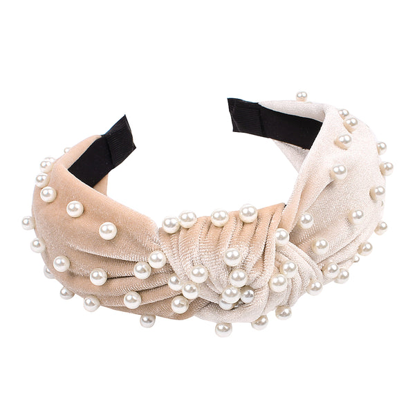 velvet knot hairband with pearls,velvet cover knit hair headband with pearls,sponge foam hairband with pearls90609
