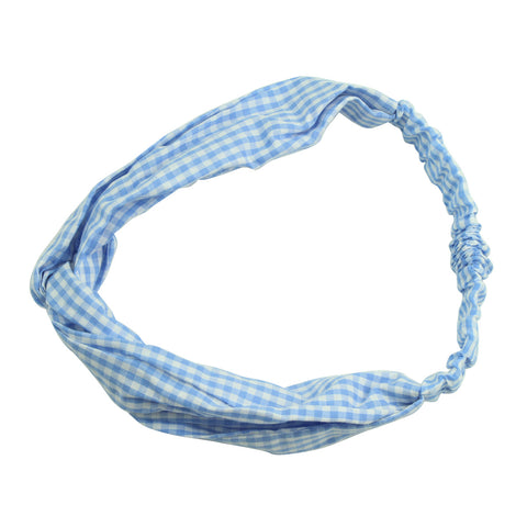 white and blue gingham custom print twist hair headband fashion teenage girl criss cross headband hairband 6974 - SOHOBUCKS CO.,LIMITED