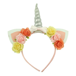 white felt and glitter suede cat ears silver shiny artificial unicorn horn fabric covered pink rose flower headband ribbon bow hairband6002 - SOHOBUCKS CO.,LIMITED