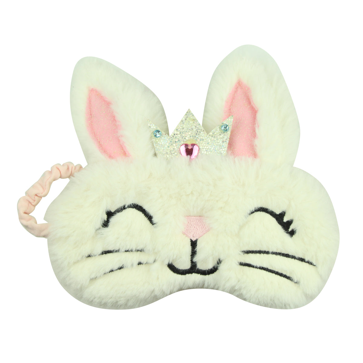 white plush bunny ears rabbit embroidery eye patches suede leather crown eye pads private label 7900 - SOHOBUCKS CO.,LIMITED