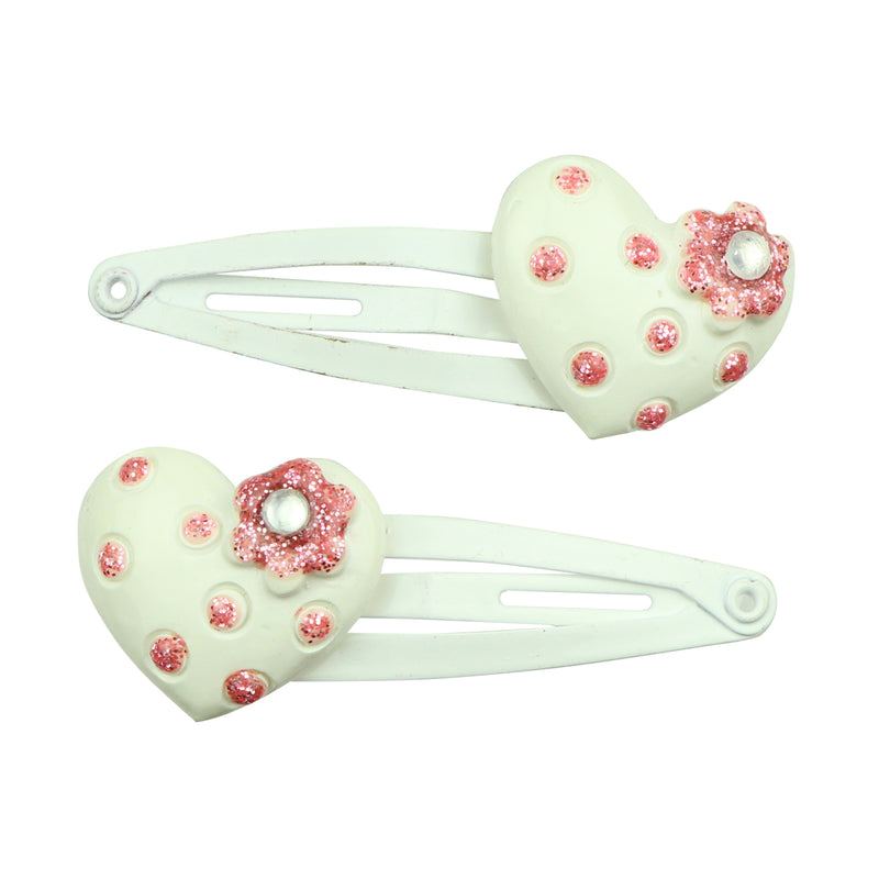 white poly resin heat shape tapper girl hair clip with rhinestones and flowers 7735
