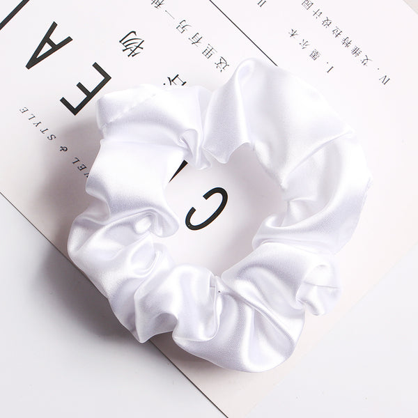 white satin scrunchies
