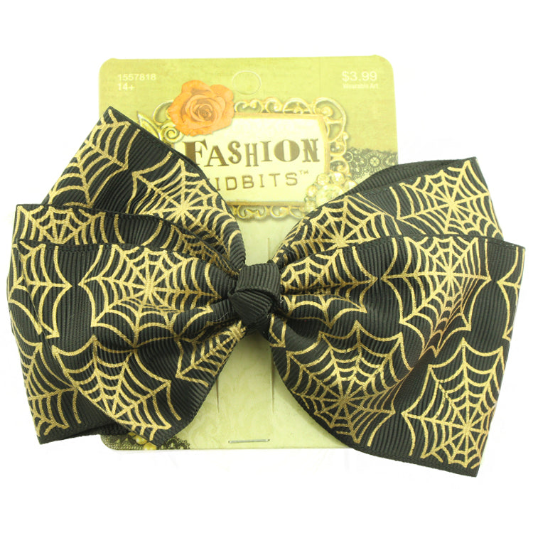 wholesale black wide grosgrain ribbon bow silkscreen print spider web bow Halloween hair accessories alligator clip from Walmart suppplier - SOHOBUCKS CO.,LIMITED