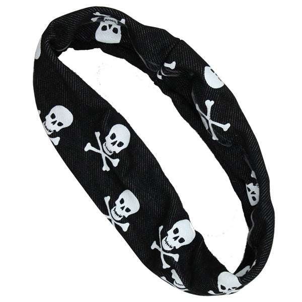 wholesale custom SilkScreen Print white skulls black Halloween silicone Non Slip women Headband  head wrap 1261 - SOHOBUCKS CO.,LIMITED