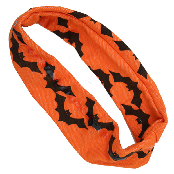 wholesale custom Silk Screen Printed Black Bats Orange Halloween  silicone Non Slip women Headband  head wrap1262