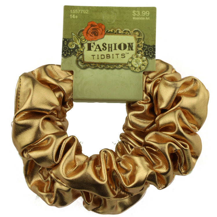 wholesale custom artificial gold suede pu leather hair scrunchies ponytail holder fabric scrunchy hair band from Walmart factory 2546