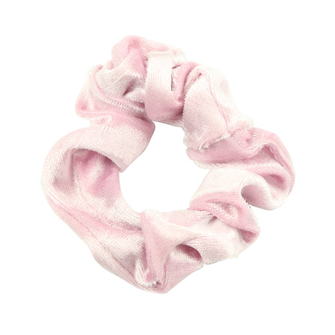 wholesale custom  pink velvet scrunchy  elastic hair band best cloth ponytail holders private label  for fine hair