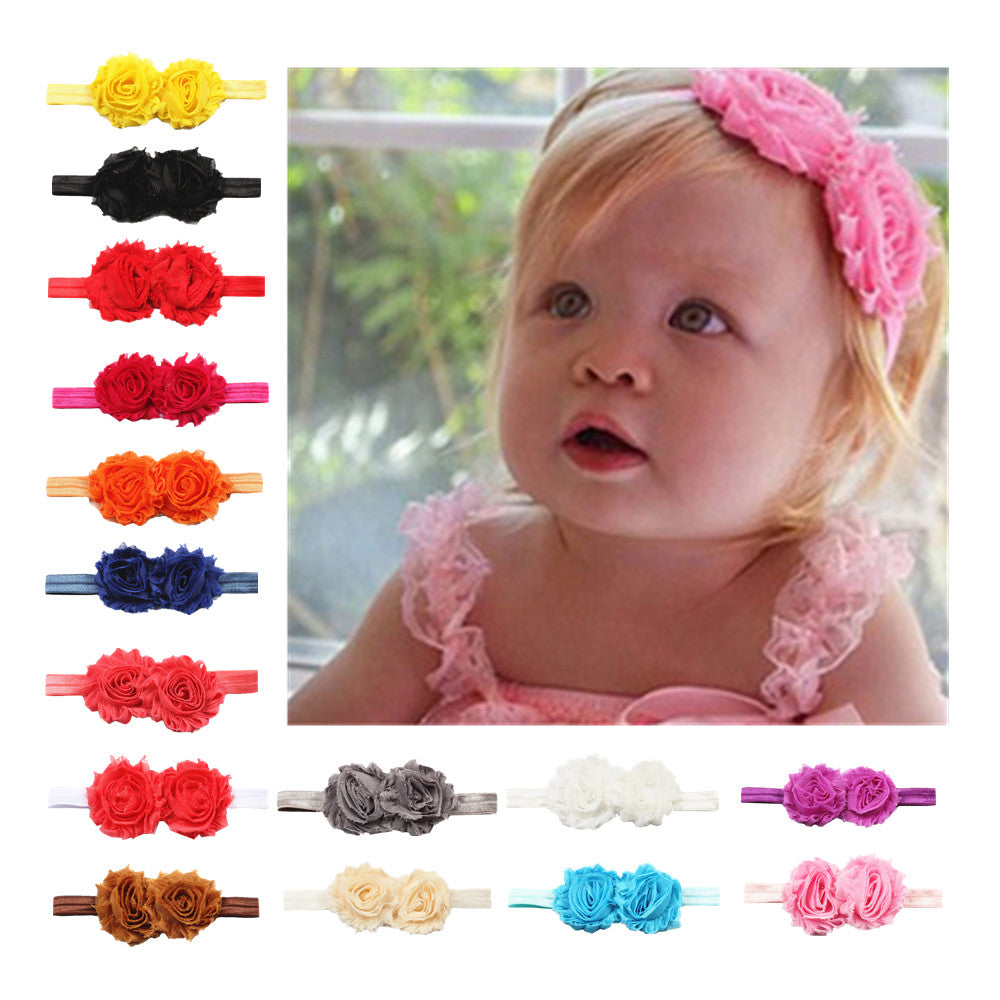 wholesale custom yellow shabby chic flowers baby girl toddler elastic headband decorative new born girl hair headpiece 7802