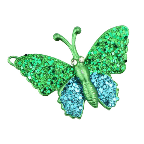 wholesale eco friendly lead free green metal glitter butterfly hair clip girl hair barrette hair-grip at factory price6488 - SOHOBUCKS CO.,LIMITED