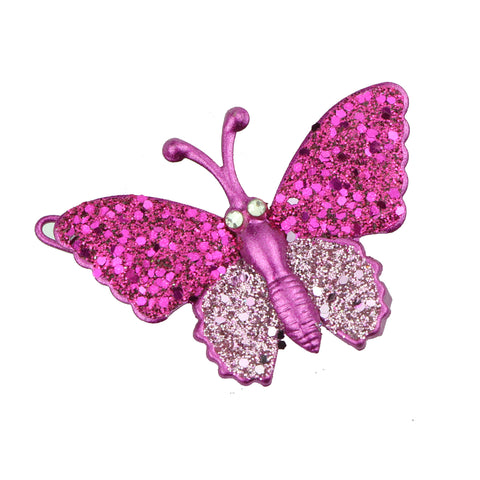 wholesale eco friendly lead free hot pink metal glitter butterfly hair clip girl hair barrette hair-grip at factory price6484 - SOHOBUCKS CO.,LIMITED