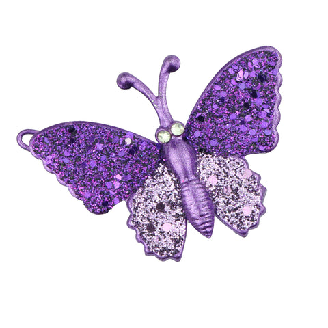 wholesale eco friendly lead free purple metal glitter butterfly hair clip girl hair barrette hair-grip at factory price 6487 - SOHOBUCKS CO.,LIMITED