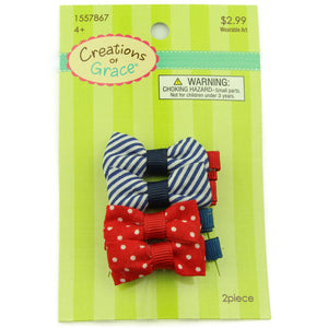wholesale fabric strip hair bow alligator clip for girl polka dots fabric bow ribbon covered hair clip for toddler 2385 - SOHOBUCKS CO.,LIMITED
