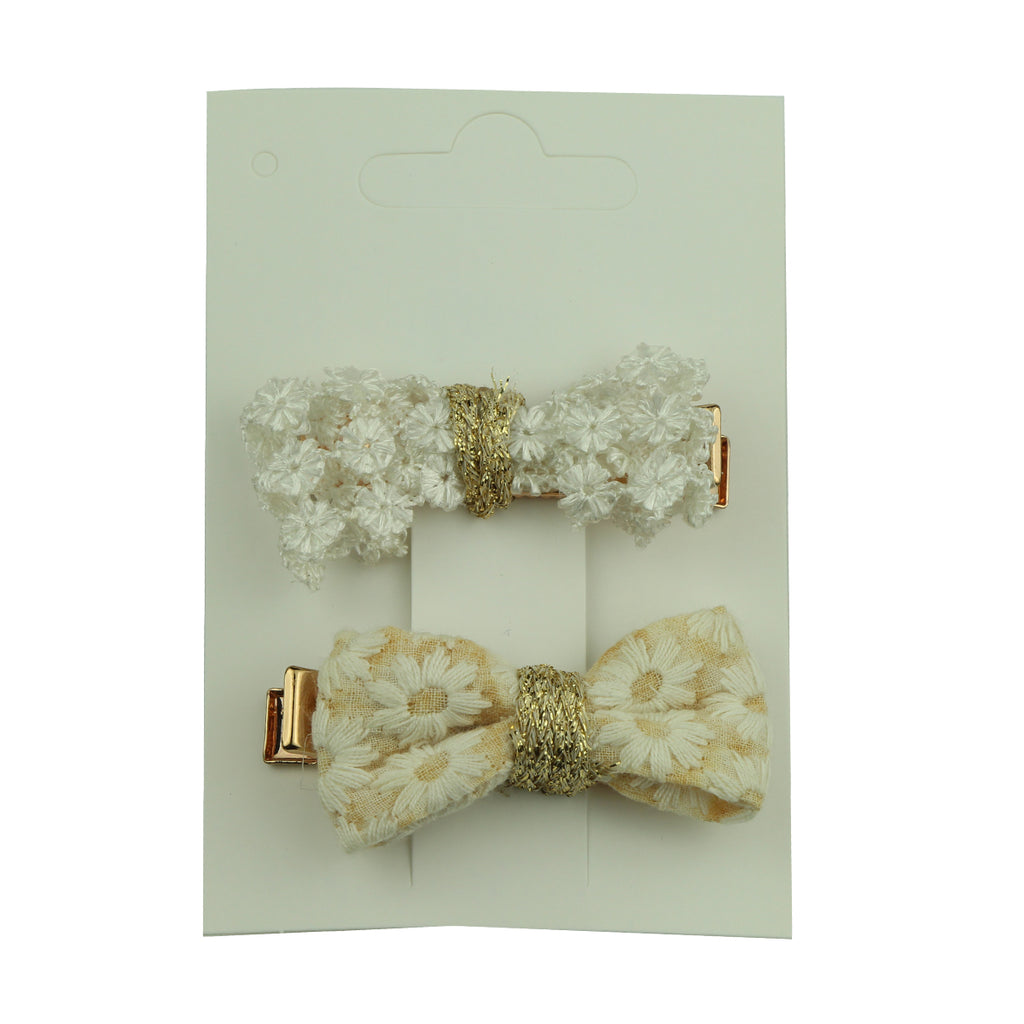 wholesale fashion Embroidered custom fabirc bow rose gold hair clip headwear at factory price 5794 - SOHOBUCKS CO.,LIMITED