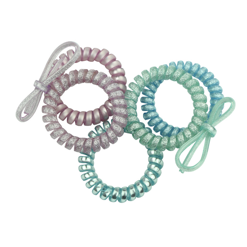 wholesale glitter clear plastic hair bobbles cable hair coil  spirals hair bands elastic coil hair accessories ties sparkly  ponytail hair holder scrunchies6430