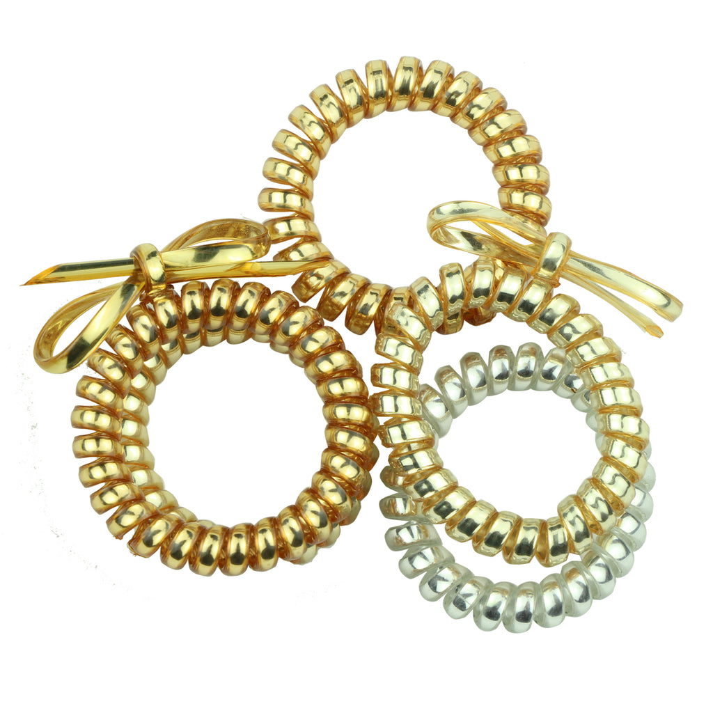 wholesale hair accessories shiny spiral gold phone cord hair bobbles for long hair ladies daily 6442