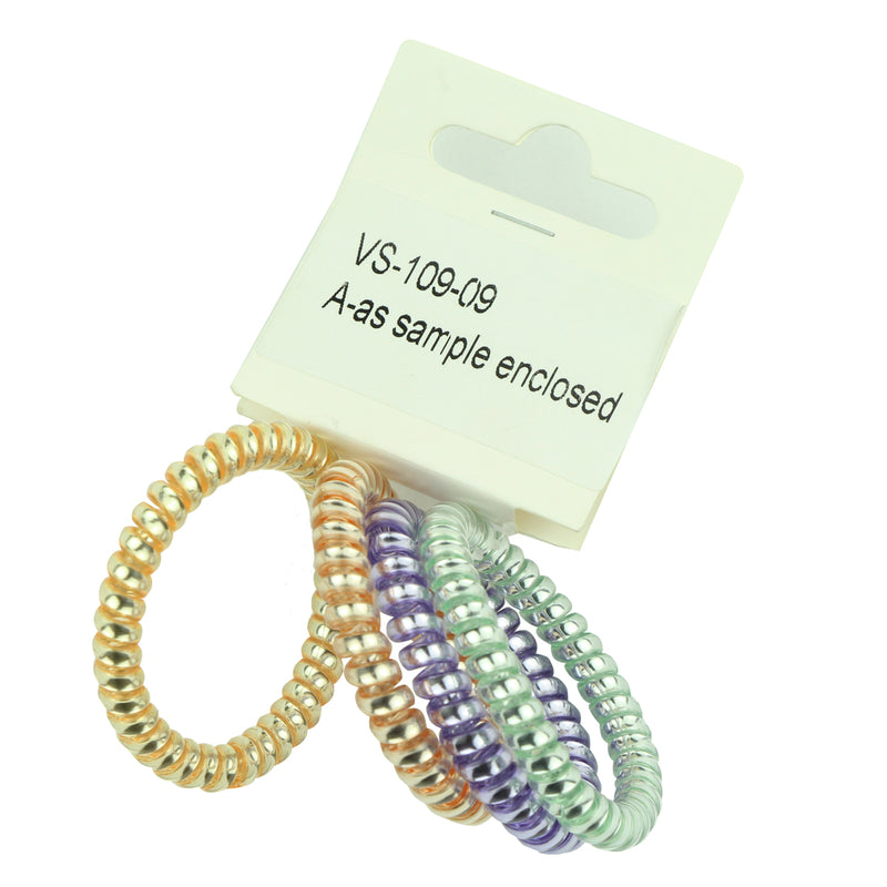 wholesale jelly coil hair ties  kinkless hair bobbles kink free hair band metal spirals hair accessories ponytail holder 6449 - SOHOBUCKS CO.,LIMITED