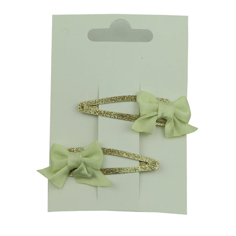 wholesale light green grosgrain diy ribbon bow 5cm gold glitter toddler snap hair clip set 5672 - SOHOBUCKS CO.,LIMITED