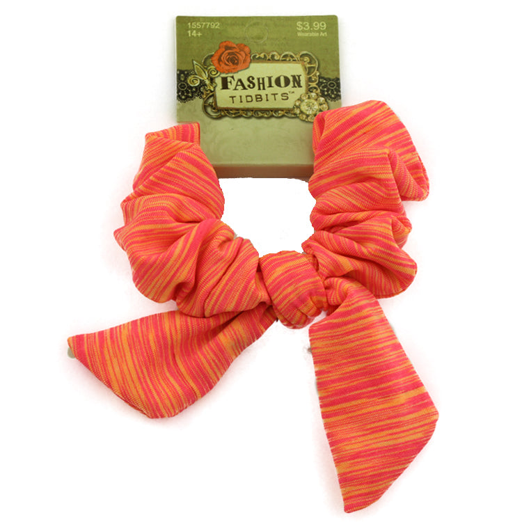 wholesale orange custom stretchy fabric bow sports gymnastic hair scrunchies ponytail hair holder from Kmart audit supplier 2560